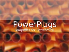 PowerPoint template displaying red and orange pipes in the background.