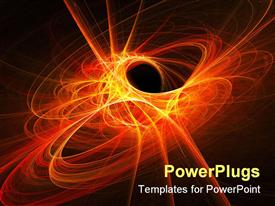 PowerPoint template displaying space flame rays circle on dark background