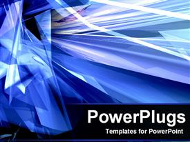 PowerPoint template displaying abstract of Crystallized Blue rays in the background.