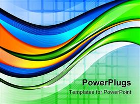 PowerPoint template displaying abstract background with smooth lines and waves