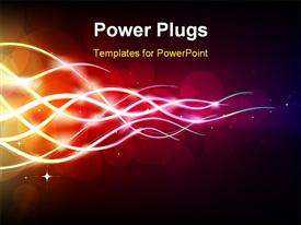 PowerPoint template displaying futuristic abstract glowing background resembling motion blurred neon light curves