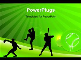 PowerPoint template displaying silhouettes of players playing rugby with green rays