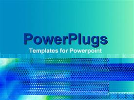 PowerPoint template displaying a fuzzy blue and white surface with a text that spell out the word