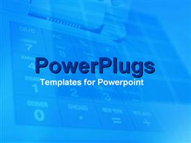 PowerPoint template displaying a plain blue background tile with a faint key board