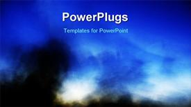 PowerPoint template displaying a bluish background with a lot of smoke