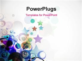 PowerPoint template displaying colorful circles and stars with grey color