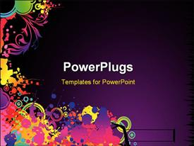 PowerPoint template displaying abstract colorful decorative shapes with purple color