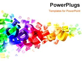 PowerPoint template displaying multi color revolving 3D alphabets with white color