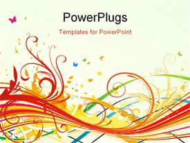 PowerPoint template displaying it is abstract background with color curved lines and floral elements in the background.