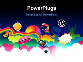 PowerPoint template displaying beautiful color straps with colored heart shapes and speakers