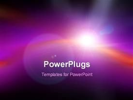 PowerPoint template displaying lens flare on beautiful blurred purple background