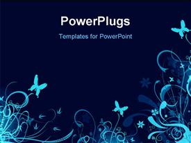 PowerPoint template displaying beautiful blue vector floral drawings with butterflies and black color