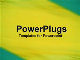 PowerPoint template displaying blurred abstract painting of yellow and green colors blending between blue corners