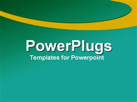 PowerPoint template displaying plain green background surface with a thick yellow circular stripe