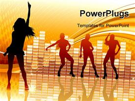 PowerPoint template displaying abstract party Background with dancing girl silhouettes