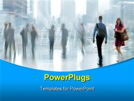 PowerPoint template displaying motion blur with people walking and standing