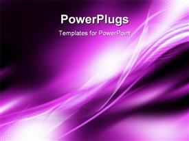 PowerPoint template displaying abstract illustrative depiction of twisting strips and mesh textures in purple