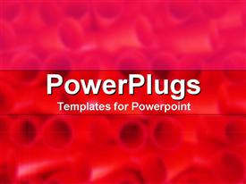 PowerPoint template displaying lots of short red pipes on a reddish hue background