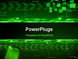 PowerPoint template displaying abstract technology design with arrows and angled blocks