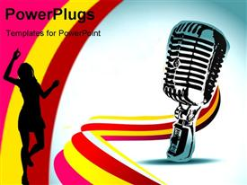 PowerPoint template displaying abstract mic background depiction design art in the background.