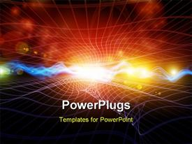 PowerPoint template displaying abstract high energy glowing waves, with bokeh effect