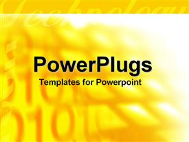 PowerPoint template displaying yellow technology word with binary codes fading in the bright yellow background