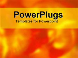 PowerPoint template displaying abstract orange and red patterns with gold text area