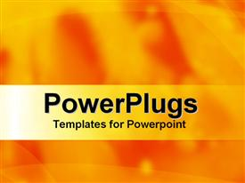 PowerPoint template displaying abstract lines and shapes on mixed yellow and orange background