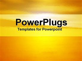 PowerPoint template displaying sunset in oranges and yellows with banner