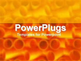 PowerPoint template displaying close up view of tubes on blurred yellow and orange background