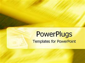 PowerPoint template displaying stacks of money on gold background