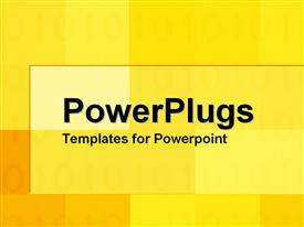 PowerPoint template displaying abstract background with tiny numerical figures and blocks of yellow