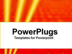 PowerPoint template displaying high tech theme with three glowing yellow stripes on bubbled orange background