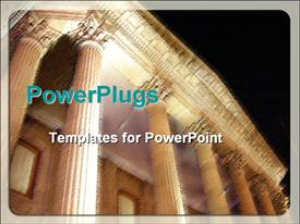 PowerPoint template displaying close-up blurred depiction of shrine at night, ancient building, historic building on black background
