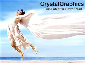 PowerPoint template displaying woman jumping on beach with sheet