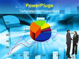 PowerPoint template displaying bar chart, line graph, pie graph, man and woman shaking hands