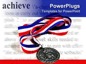 Medal with an achievement theme  prize template for powerpoint