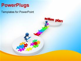 PowerPoint template displaying blue figures assembling multicolored jigsaw pieces to reach Action Plan