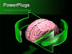 PowerPoint template displaying two large transparent green arrows orbiting around a human brain