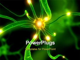 PowerPoint template displaying close up of an active neuron cell in the background.