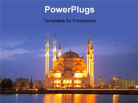 Mosque in Adana Turkey at Night  - islam powerpoint slides