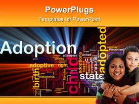 PowerPoint template displaying mother holding her son and an Adoption text beside