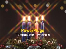 Advent candles. fourth candle lit represents the candle of love powerpoint template