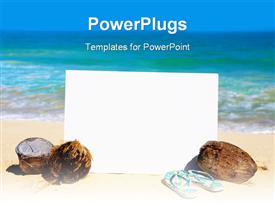 PowerPoint template displaying a reflective white board with coconuts and a pair of slippers