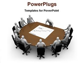PowerPoint template displaying board meeting is going on for marketing in the background.