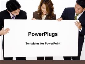 Business persons are holding blank advertising banner template for powerpoint