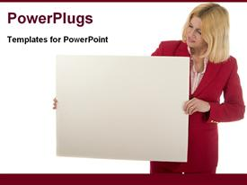 PowerPoint template displaying woman holding blank advertising board in the background.