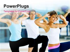 PowerPoint template displaying group of gym people in an aerobics class in the background.