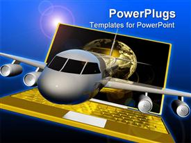 PowerPoint template displaying airplane flies out of laptop on blue background