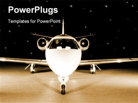 PowerPoint template displaying plane view from the front, frontal depiction of plane, corporate jet on starry sky black background
